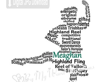 Highland Dancer Word Art, Personalized Scottish Dancer Art, Dancer Word Art, Dancer Gift, Personalized Word Art, PRINTABLE DIGITAL FILE