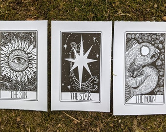3 Tarot Prints: The Star, The Moon, The Sun | Hand Drawn Pen and Ink | 4x6 Cardstock | Postcard Size | Tarot Mini Print | Celestial Boho Art