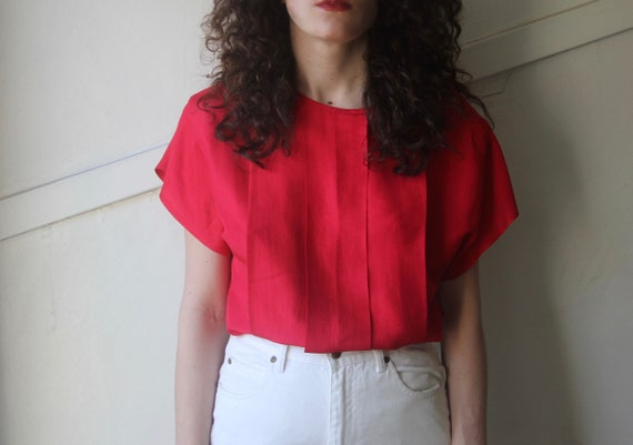 vintage pure silk red pleated blouse