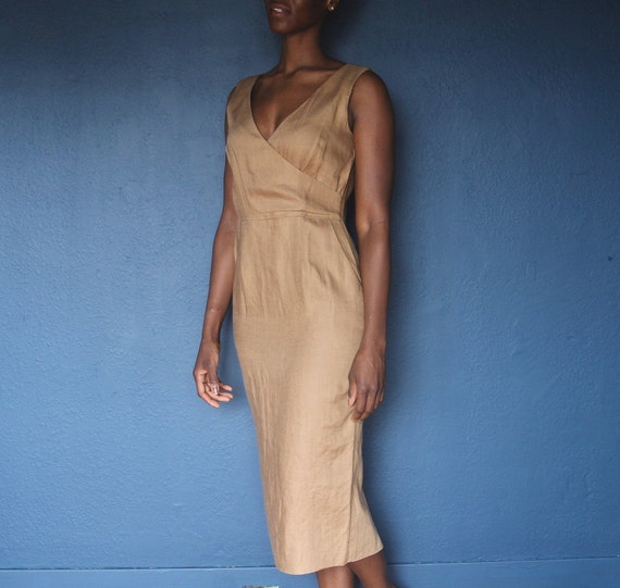 vintage tan linen dress / linen wrap dress size me