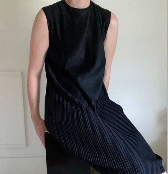 vintage black pleated shift dress / koret of calif