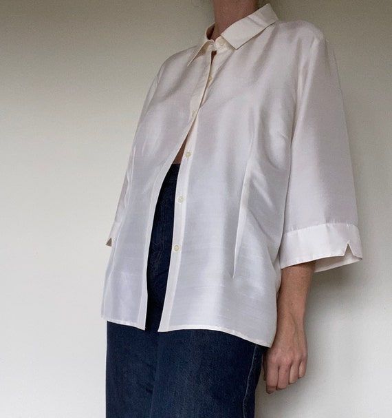 vintage ivory silk button down blouse womens xl
