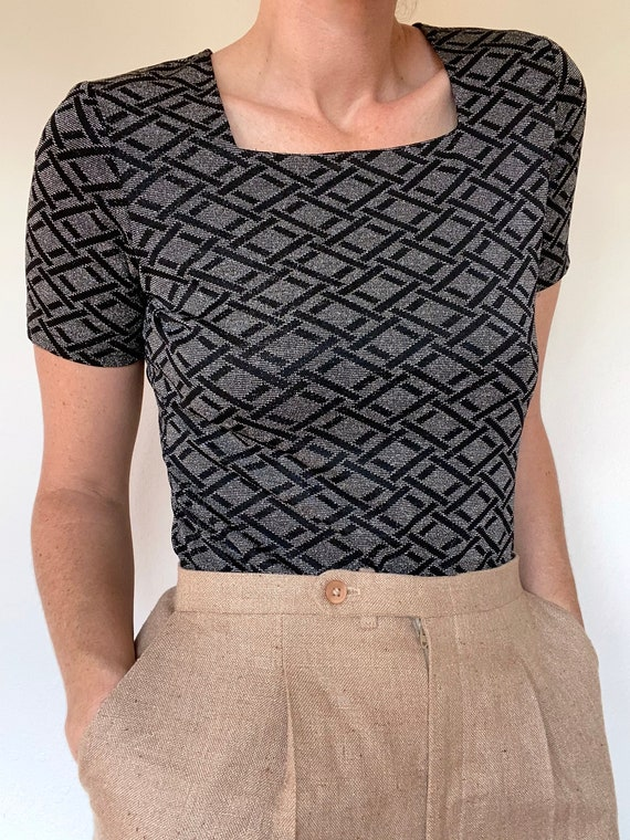 vintage metallic square neck fitted blouse size me
