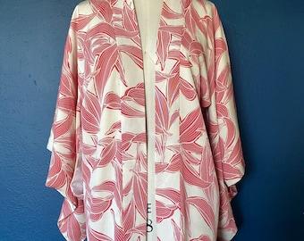 vintage red botanical haori jacket / kimono size small