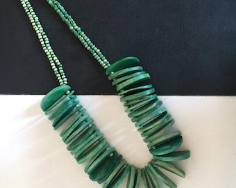 vintage bone bib necklace
