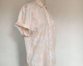 vintage peach botanical blouse