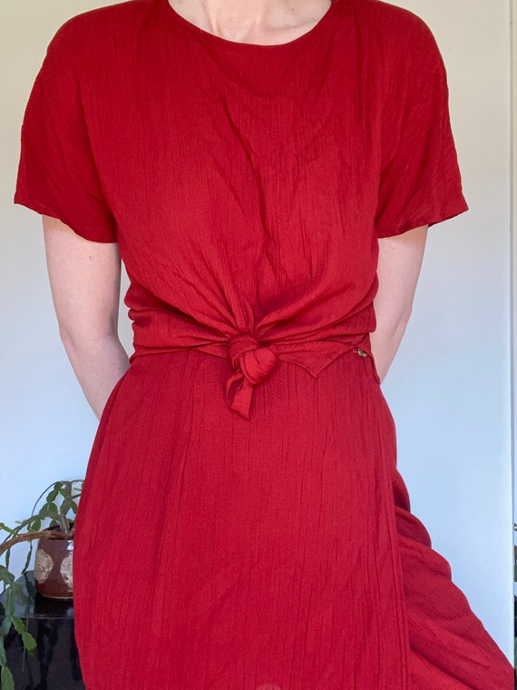 Two piece suit Minimal Vintage red short sleeve overcoat