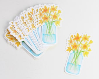Daffodil Sticker | Watercolored Flowers Spring Sticker | Sticker for Cancer Research