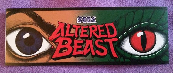 """Altered Beast arcade marquee sticker 3/"""" x 10.5/"""" Buy 3 stickers, GET ONE FREE!"""