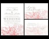 Wedding Invitations, personalized wedding invitation, hydrangea wedding invite, budget invitations