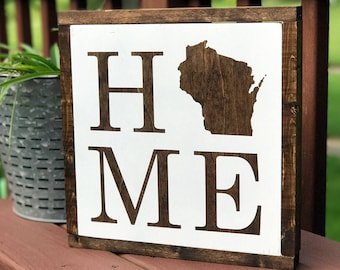 Wisconsin Home Framed Sign   WI Wall Art   Wisconsin Home Décor