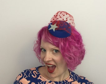 4th of July Tilt Fascinator with Star, American Fascinator