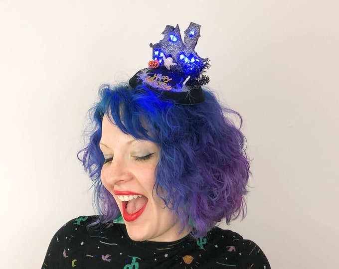 Featured listing image: Haunted House (with lights!) Halloween Fascinator, Tablescape