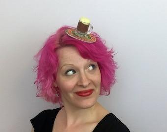 Irish Stout Inspired Beer Fascinator, Beer Hat