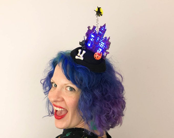 Featured listing image: Haunted House (with lights!) and Witch Halloween Fascinator, Tablescape