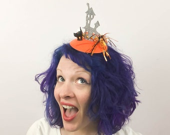 Haunted House in a Candy Corn Forest Halloween Fascinator, Tablescape