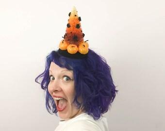 Candy Corn Tree Fascinator, Halloween Bottlebrush Tree Tablescape