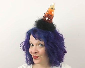 Candy Corn Tree with Ghosts and Bats! Fascinator, Halloween Bottlebrush Tree Tablescape