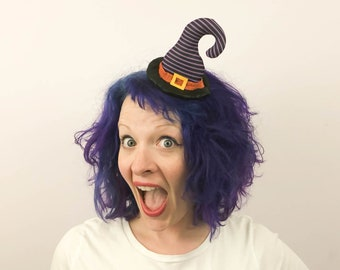 Mini Curved Witch Hat Fascinator, Light Purple and Black Witch Hat hair clip