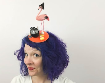 Flamingo Witch Magic Potion Halloween Fascinator, Tablescape