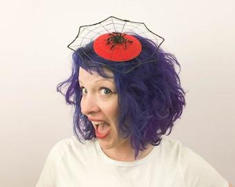 Spiderweb Fascinator, Halloween Costume, Spider Web Hat