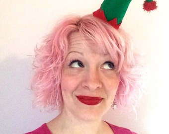 Christmas Curved Green Elf Hat Hair Clip: Christmas Fascinator