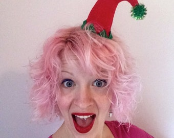 Christmas Curved Red Glitter Elf Hat Hair Clip: Christmas Fascinator