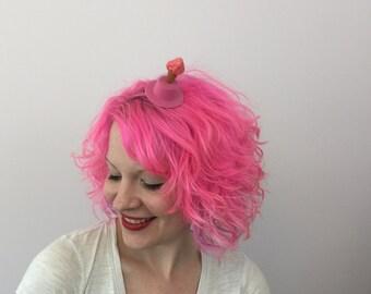 Strawberry Ice Cream Cone Top Hat, Ice Cream Fascinator