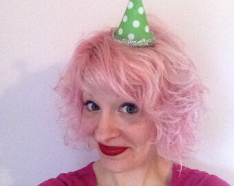 Christmas Green Polka Dot Elf Hat Hair Clip: Christmas Fascinator