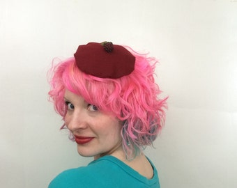 Mini Red Beret with Raspberry detail, Beret Fascinator