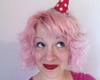 Christmas Red Polka Dot Elf Hat Hair Clip: Christmas Fascinator