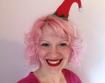 Christmas Curved Red Elf Hat Hair Clip: Christmas Fascinator