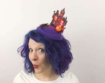 Haunted House (with lights!) and Spider Halloween Fascinator, Tablescape