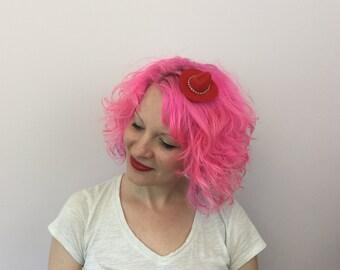 Mini Red & Rhinestone Cowboy Hat Hair Clip, Cowboy Hat Fascinator