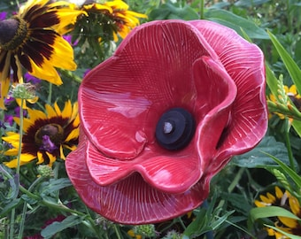 Red ceramic poppy Flanders style, ceramic flowers