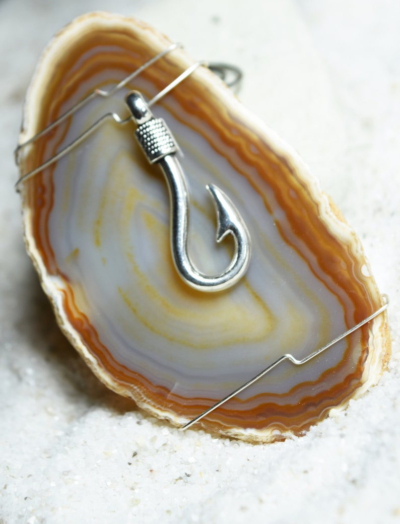 or Natural Pink Aqua Custom Handmade Agate Slice Ornament with Silver Fish Hook Charm Choose Your Agate Slice Color: Purple Blue