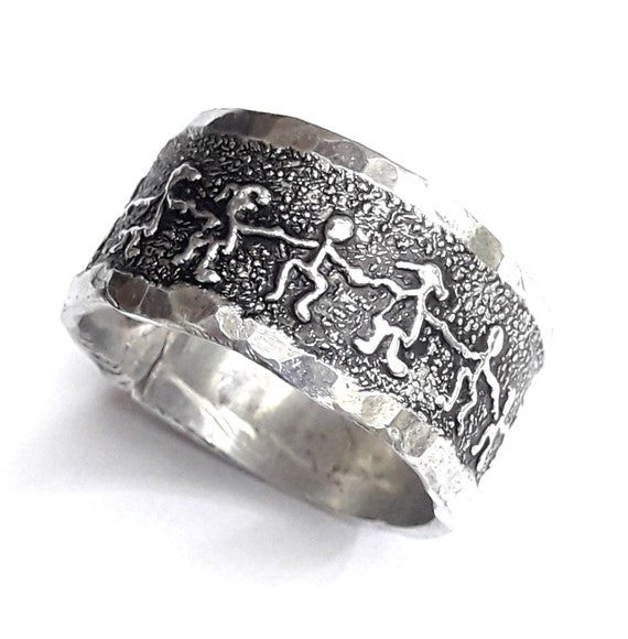 hammered edge and personalized text with design of people friendship and community Aluminum ring band