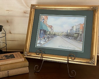 SALE - Wilmore, KY Artwork - Artist Roselyn Cooper - My Kind of Town - Signed Print 213 of 500 - Dark Green Double Mat - Rustic Gold Frame
