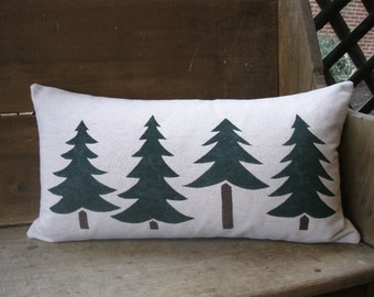 Lumbar Pillow - White OR Cream Fabric - Evergreen and Pine Trees - Christmas and Holiday - Rustic - Cabin - Farmhouse - Cottage - 12x22 in.