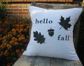 Throw Pillow - hello fall - White OR Cream fabric - Autumn - Neutral - September - October - Farmhouse - Cottage - Cabin - Rustic - 14x14 in