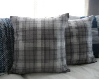Gray Flannel Plaid Throw Pillow - Fall - Autumn - Winter - Christmas - Neutral - Cabin - Rustic - Farmhouse - Cottage - Coastal - Gift Idea
