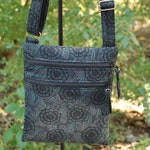 READY to SHIP-Small Double Zip Hipster-Hip Bag-Purse-Cross Body-Adjustable Strap-Dark Tone Floral