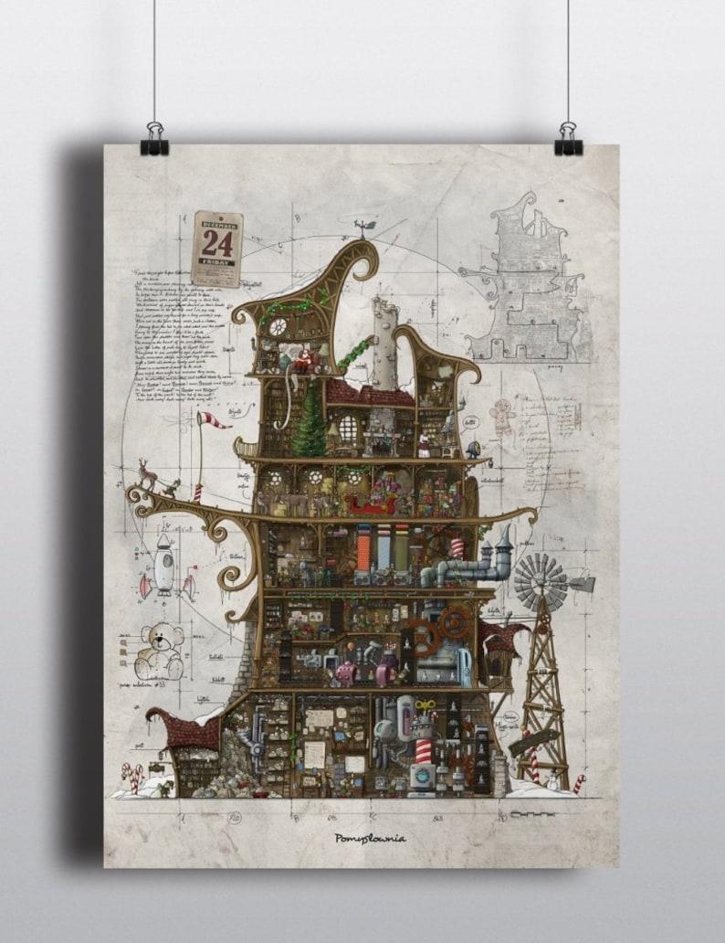 Santa Claus Workshop. Poster large 50x70cm 1975 x 275 image 0