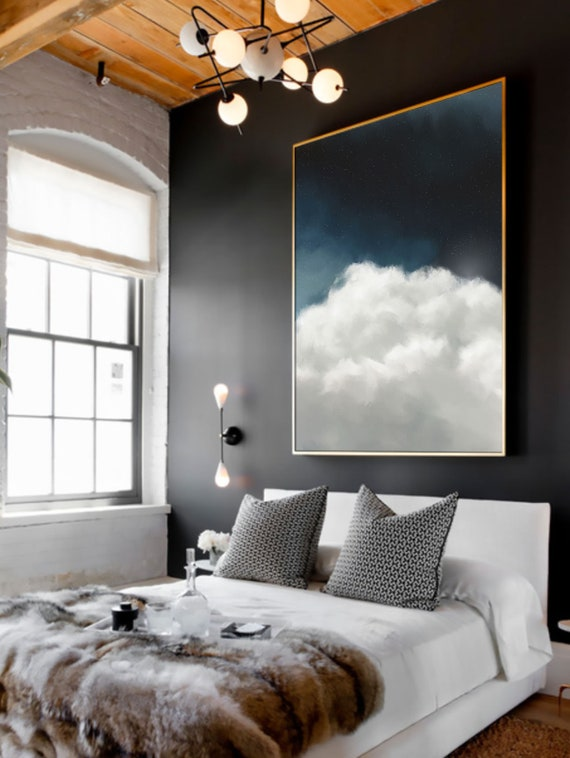 art mural nuage de peinture pr t accrocher toile art etsy. Black Bedroom Furniture Sets. Home Design Ideas