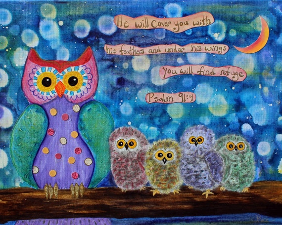 Psalm 914 Owl Art Scripture Bible Verse Inspirational Etsy