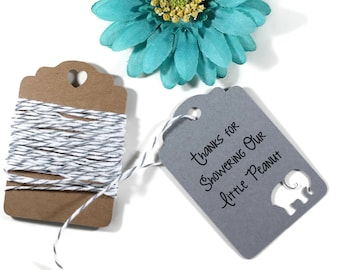 Grey Elephant Baby Shower Tags 20pc - Showering Our Little Peanut - Thank You Tags - Elephant Shower Gift Tags - Neutral Baby Shower
