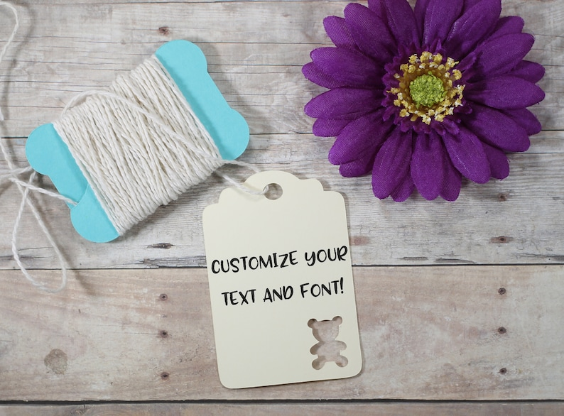 Personalized Teddy Bear Shower Favor Tags Neutral Baby Shower Custom Cream Baby Shower Tags Ivory Bear Shower Tags