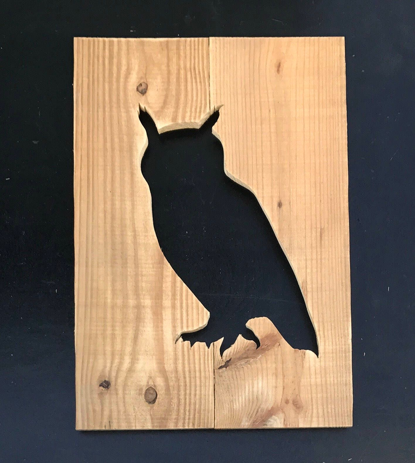 Rustic Owl silhouette reverse Cutout on reclaimed wood, wall art ...