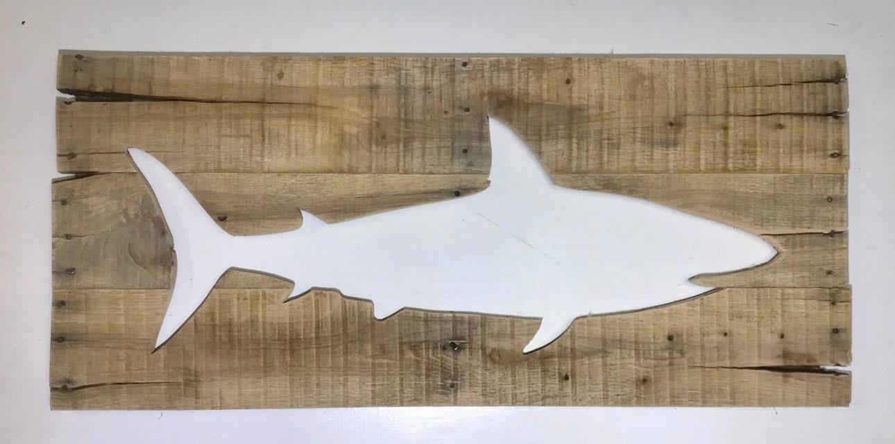 Rustic Shark 38x17 Reverse Cutout Nautical Fish Wall Art Made