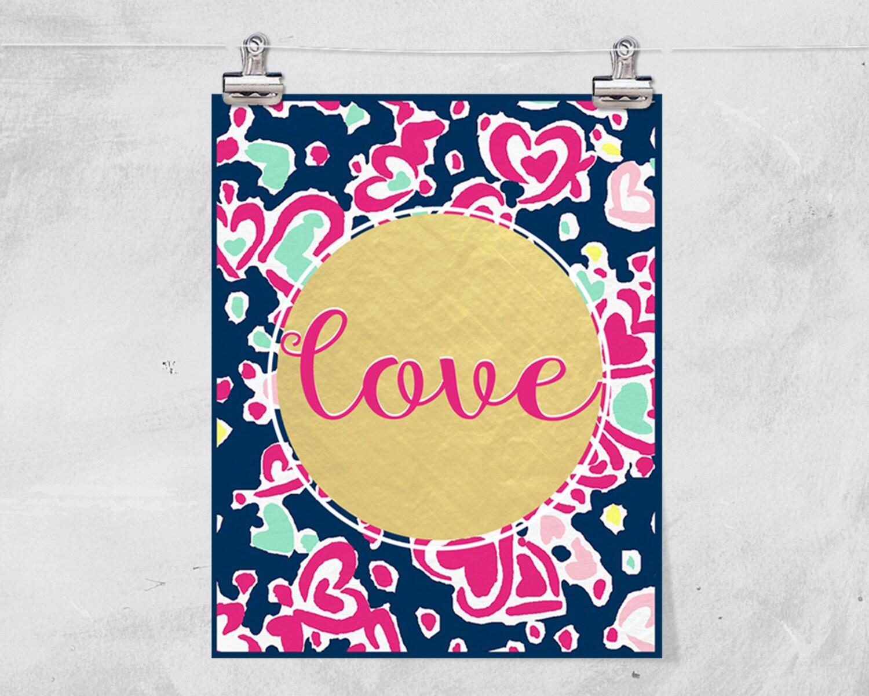 Lilly Pulitzer Inspired // Love // St. Valentine\'s Day // | Etsy